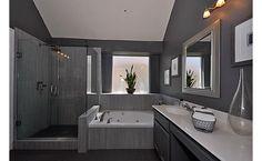Gray bathroom- adore this.