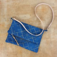 Sashiko Pattern Crossbody Bag in Indigo with by ChloeDerderianG