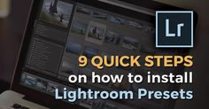 """Here is a quick tutorial on how to install Adobe Lightroom Presets in9simple steps: Download the ZIP file containing your Lightroom presets to your computer Locate your downloaded ZIP file and extract the files Open Lightroom and click on """"Edit"""" (PC) or """"Lightroom"""" (Mac) at the top which is next to """"File"""" and click on """"Preferences"""" and then on the """"Presets"""" tab Make sure the option """"store presets with this catalog"""" is unchecked Click on """"Show Lightroom Presets Fold..."""