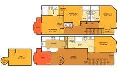 TH floorplan (5 bed, 4 bath. 1689 sq. ft.) at Villas on Guadalupe, Austin, TX