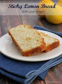 A twist on an old favorite, this Sticky Lemon Bread made with all-natural ingredients including Greek yogurt is a light, refreshing bread for any occasion! | Recipe on MealPlanningMagic.com