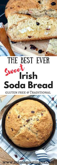 Best Ever Irish Soda Bread Recipe Is An Absolute Perfected Version It Has A Golden, Crunchy, Sweet Crust With A Moist, Chewy Interior, And Tangy Cranberries. Via Mamagourmand Irish Desserts, Irish Recipes, Best Bread Recipe, Bread Recipes, St Patricks Day Food, Sweet Bread, Sans Gluten, Gluten Free Recipes, Yummy Food