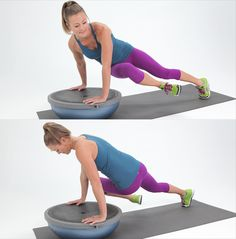 Twisted Plank on BOSU Ball...or propped up on a step (won't give the added challenge of stability - but will save you $100 on a BOSU ball!)