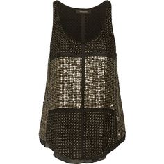 Isabel Marant Peachy metallic embellished silk-chiffon top (5.765 VEF) ❤ liked on Polyvore featuring tops, shirts, tank tops, tanks, blusas, gold, beaded tank top, heavy tank, embellished tank and sequin top