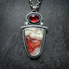 Laguna Lace Agate and Garnet Sterling Silver door McComseyDesigns