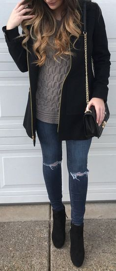 fall outfit ideas / gray cable knit sweater + booties