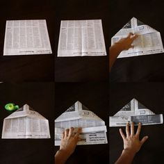 How to make a newspaper hat: go dog go Newspaper Hat, Newspaper Crafts, Diy And Crafts, Crafts For Kids, Hat Tutorial, Do It Yourself Projects, Kids Corner, Nature Crafts, Kids Hats