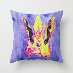 #society6 #almiraj #rabbit #bunny #throwpillow #watercolor #arabic #mythology #arabicmyth #myth #mythical #watercolorpainting #painting