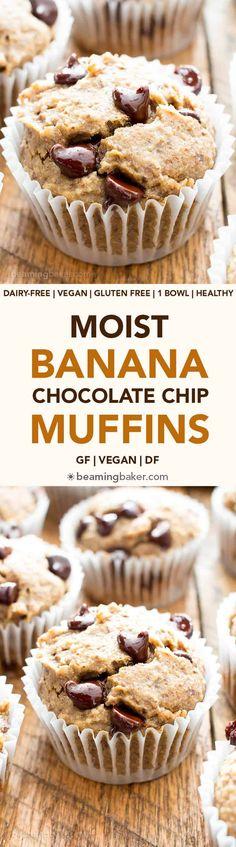Moist Banana Chocolate Chip Muffins (V, GF): a one bowl recipe for perfectly moist banana muffins bursting with chocolate chips! #Vegan #GlutenFree #DairyFree #Breakfast #Dessert   Recipe on BeamingBaker.com