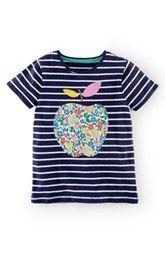 Mini Boden Stripe Appliqué Tee (Toddler Girls, Little Girls & Big Girls)