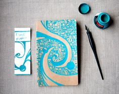 Kraft Moleskine Cahier Large Notebook Hand Drawn by dots2lines