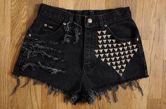 studded denim shorts
