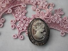 Cameo with pink tatting lace