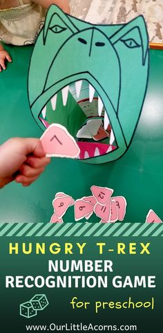 Hungry T-Rex Number Recognition Game - Help your preschooler recognize numbers with this fun dinosaur learning activity. Learning Numbers Preschool, Dinosaur Theme Preschool, Learning Games For Preschoolers, Dinosaur Games, Numbers Kindergarten, Preschool Games, Kindergarten Activities, Preschool Crafts, Toddler Activities