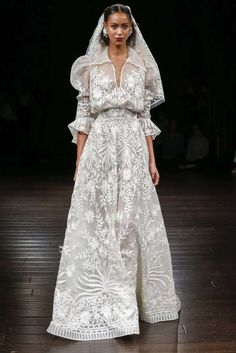 A-line Wedding Dresses : Naeem Khan Fall 2017 Wedding Silk thread embroidered A-line gown Bridal Dresses, Wedding Gowns, Naeem Khan Bridal, 2017 Bridal, 2017 Wedding, Purple Wedding, Dress Vestidos, A Line Gown, Bridal Fashion Week