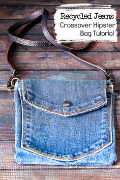 Denim Bag Patterns, Hipster Bag, Denim Handbags, Denim Ideas, Denim Crafts, Recycled Denim, New Blue, Handmade Bags, Diy Purse From Old Jeans