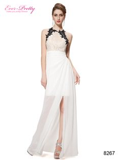 Ever Pretty Elegant Cross Back White Lacey Slitted Formal Party Dress