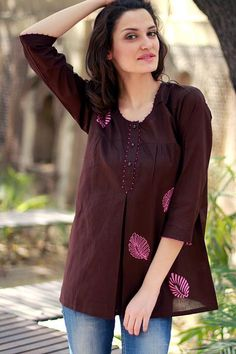 Artisan Crafted Cotton Embellished Solid Tunic Top - Coffee Rose | NOVICA