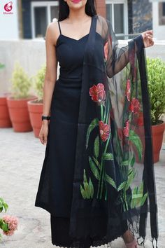 Buy Black Organza Floral Handpainted Stoles Online in India Patiala, Churidar, Anarkali, Lehenga, Kurta Designs Women, Kurti Neck Designs, Blouse Designs, Indian Wedding Outfits, Indian Outfits