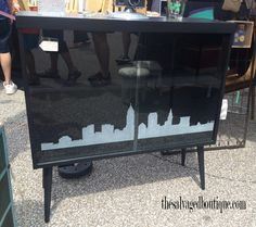 Etched Cleveland skyline cabinet | The Salvaged Boutique