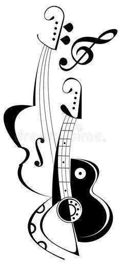 Guitar and violin - tattoo. Vector string instruments - guitar and fiddle. Treble Clef Tattoo, Violin Tattoo, Guitar Tattoo Design, Music Drawings, Music Artwork, Art Drawings, Musical Instruments Drawing, Music Notes Art, Stippling Art
