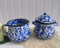 MidCentury Blue Speckle Enamel Cream and Sugar by mamiezvintage, $40.00