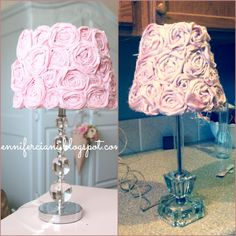 Nailed it!  $4 lamp shade, $1 pink satin robe, lamp base I happened to have in storage!  Took about 3 hours but beats paying $50 on etsy!