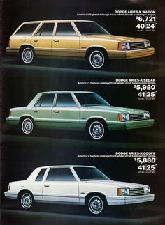 1981 Dodge Aries-K Wagon, Sedan & Coupe