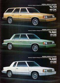 1981 Dodge Aries-K Wagon, Sedan & Coupe