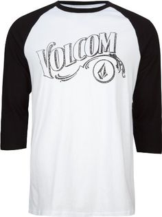VOLCOM Vontage Mens T-Shirt - Volcom Vontage tee. Faded Volcom logos printed across chest and on back below neck. Contrast 3/4 length raglan sleeves. Crew neck. 100% cotton. Machine wash. Imported.
