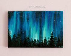 Luces del norte auroras boreales óleo sobre lienzo la pintura