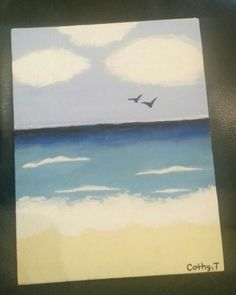 Painted a beach scene. Learn how to paint this by clicking on the link. How To Paint A Beach Scene DIY 1/3 | ANNEORSHINE: http://youtu.be/7HnJDAqbkt0
