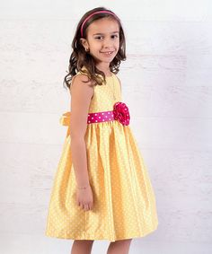 Yellow Polka Dot Rosette Dress - Infant & Toddler