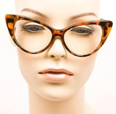 cb5b4999c05a Details about Large Cat Eye Rockabilly Nikita Nerd Geek Sexy Pin Clear Lens  Glasses Frames L