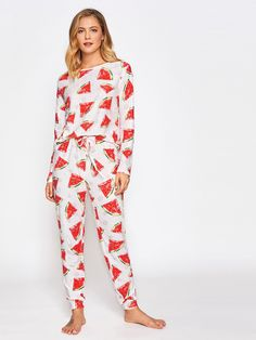 98ec9bc5a6d6  ROMWE -  ROMWE Allover Watermelon Print Top And Drawstring Pants Pajama  Set - AdoreWe · Cute PajamasBest PajamasGirls ...
