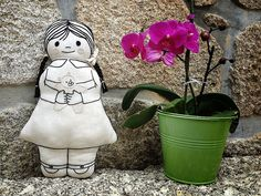 Janie - Handmade embroidered doll in linen by #fabrictrait