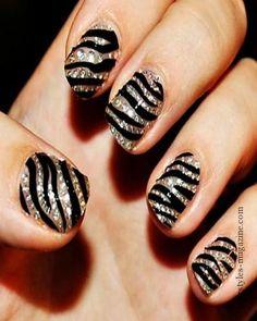 zebra print nails with stones for brides Best Unique Design Ideas for Wedding Nails 2013