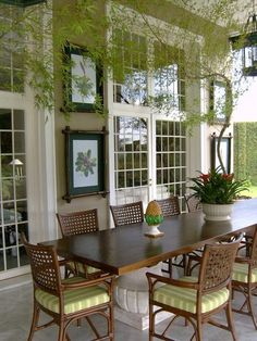 Beautiful porch for entertaining and potted bamboo.