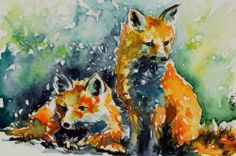 #redfoxes - original #watercolour painting by KAB 4 x 6 inch #postcard