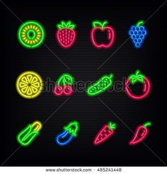 Neon signs. The symbols of different fruit and vegetables on a dark background.
