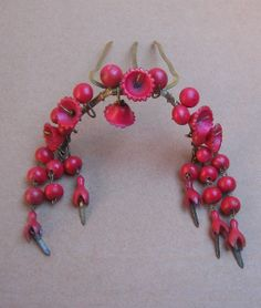 Victorian Hair Comb Carved Coral Dangles Hair Accessory