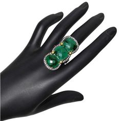 Three Stone Emerald Cocktail Ring 14 K Gold Pave Diamond Sterling Silver Jewelry #Handmade