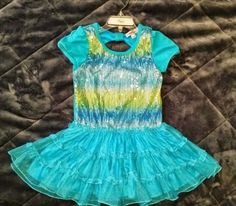 Girl code Girls dress Blue Sequin Ruffle Tutu  Size 5 tiers bow ombre #Girlcode #Dressy