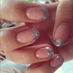 Glitter Nude Silver French Manicure