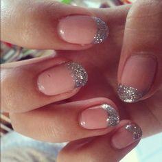 Glitter Nude Silver French Manicure
