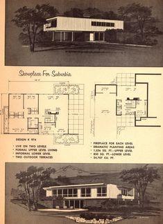 1960 by SportSuburban Vintage House Plans, Modern House Plans, Casa Retro, Mcm House, Architecture Plan, Vintage Architecture, Mid Century House, Mid Century Modern Design, Building Plans