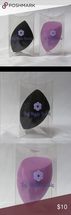 Tay Mads Beauty Sponges Hi guys! These are my own brand of beauty sponges.  They are amazing quality and this angled shape allows for blending and baking perfectly. They are better than Real Techniques quality and these signature colors make them so feminine and I hope you love them! 💜🖤 check out @taymadsbeauty on Insta and FB! Tay Mads Beauty Makeup Brushes & Tools
