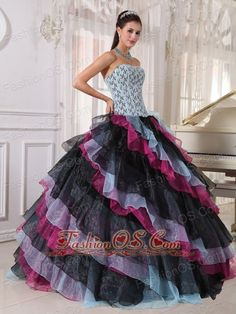 Beautiful Multi-color Quinceanera Dress Strapless Organza Appliques With Beading Ball Gown  colorful quinceanera dress | where to find quinceanera dress | multi colored quinceanera dress | colorful elegant quinceanera dress | strapless quinceanera dress | strapless quinceanera dress for 2013 |