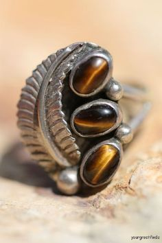 Vintage Signed Navajo Style Sterling Silver Tigers Eye Ring -New Old Store Stock.