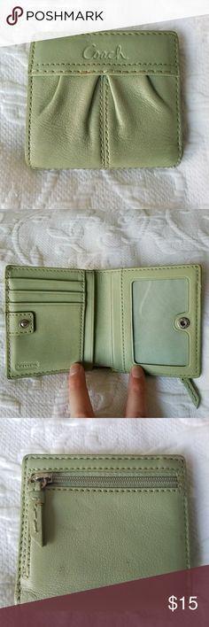"Coach Madison Small Leather Wallet - ""Sage"" Green This cute tri-fold wallet is the perfect size to fit all of your essentials - cards, cash, coins, etc. This non-bulky wallet slips easily into any handbag or purse - great for everyday use. Gently used item. Coach Bags Wallets"